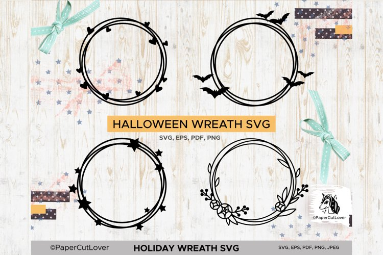Holiday Wreath SVG Set, Halloween, Hearts, Stars, Flowers example image 1