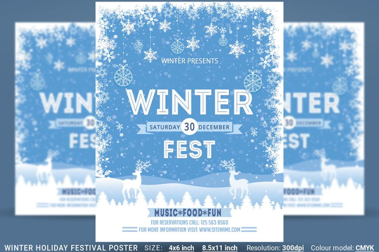 Winter Holiday Festival Poster example image 1