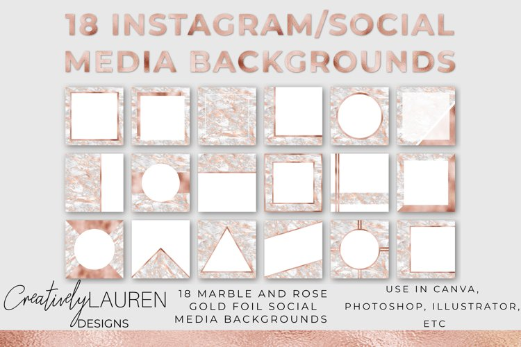 Veined Marble and Rose Gold Foil Instagram Template example image 1