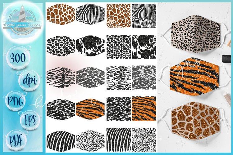 SVG PNG Animal Print Mask Glitter Sublimation Bundle example image 1