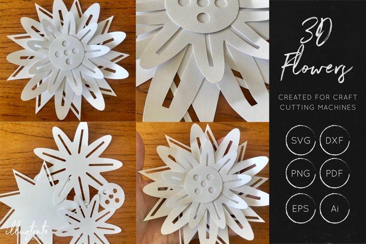 3D Flower SVG Cut Files - Flower SVG - Layered Flower DXF - Free Design of The Week Design6