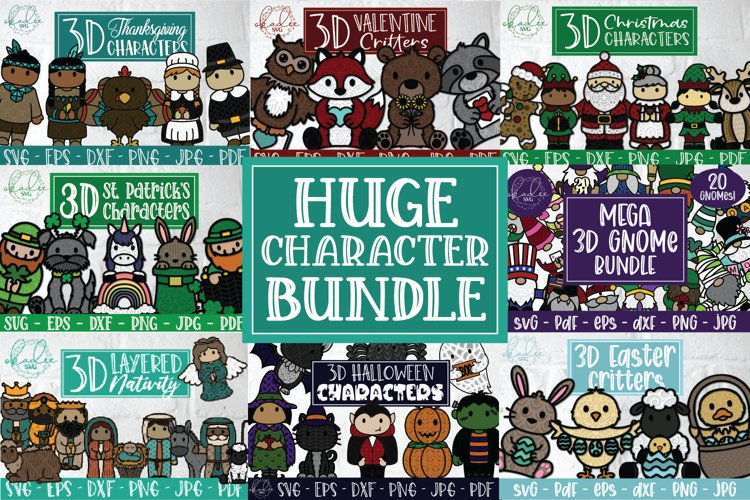 Huge Character Bundle, 3D Christmas, 3D Gnome, 3D Halloween