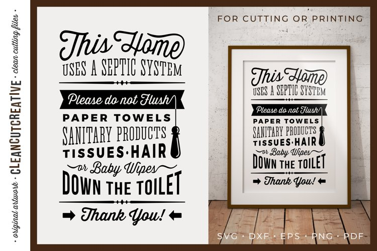 Bathroom Sign Septic System for cutting or printing SVG PDF example image 1