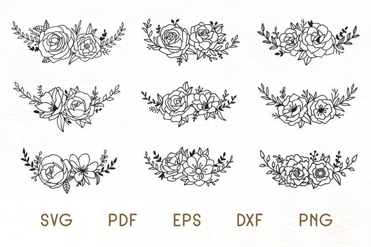 Flowers SVG Set of 9 - Floral Design Elements example image 1
