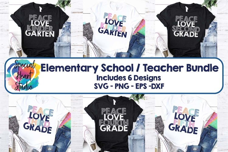 Peace Love Elementary - A School or Teacher SVG Bundle example image 1