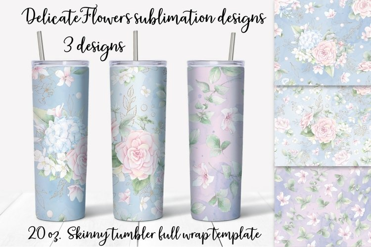 Delicate Flowers sublimation design. Skinny tumbler wrap