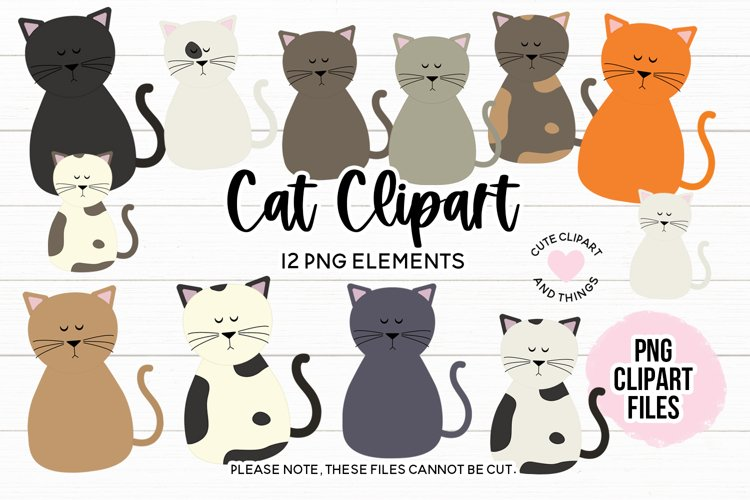 Cute Cats PNG Clipart Set - Cat Clipart example image 1