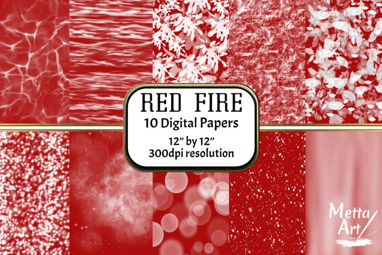 Red Fire - 10 Digital Papers/Backgrounds example image 1