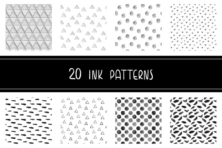 Set of geometric hand drawn ink patterns, PNG and JPEG