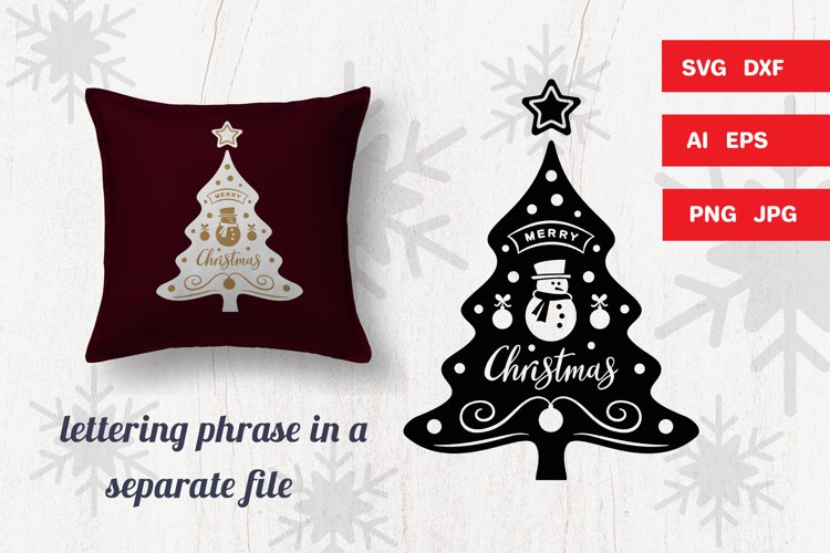Christmas tree SVG with handmade quote Merry Christmas example image 1