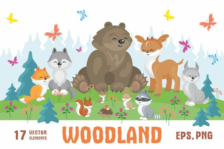 Woodland. Cute animals and plants. example image 1