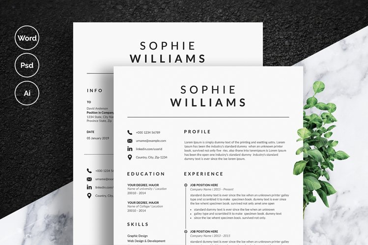 Minimalist Resume/CV and Cover Letter Template example image 1