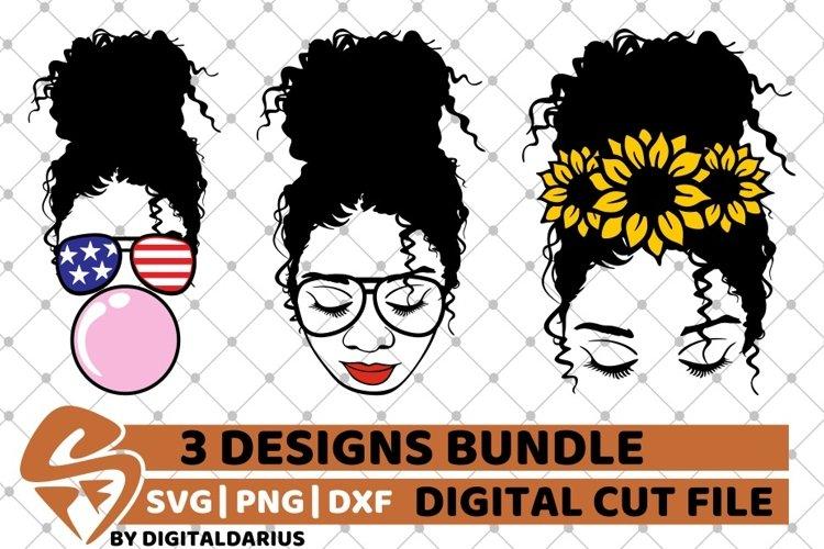 Messy Bun Designs Bundle svg, American Flag, Sunflower, Sub example image 1