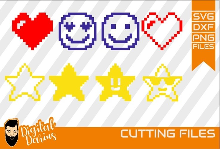 8x Pixels Icon SVG, Heart svg, Stars svg, Cuttable Design example image 1