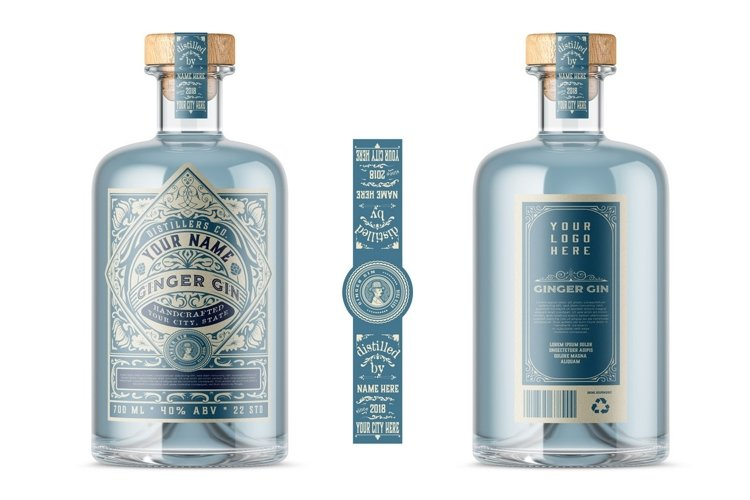 Vintage Gin label template