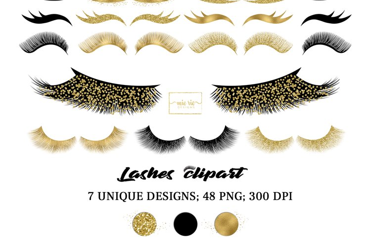 Set of gold foil, gold glitter and black lashes Clipart PNG