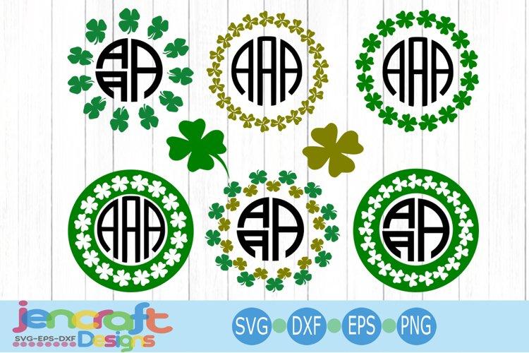 St. Patricks day SVG, Clover Shamrock SVG Monogram Frame