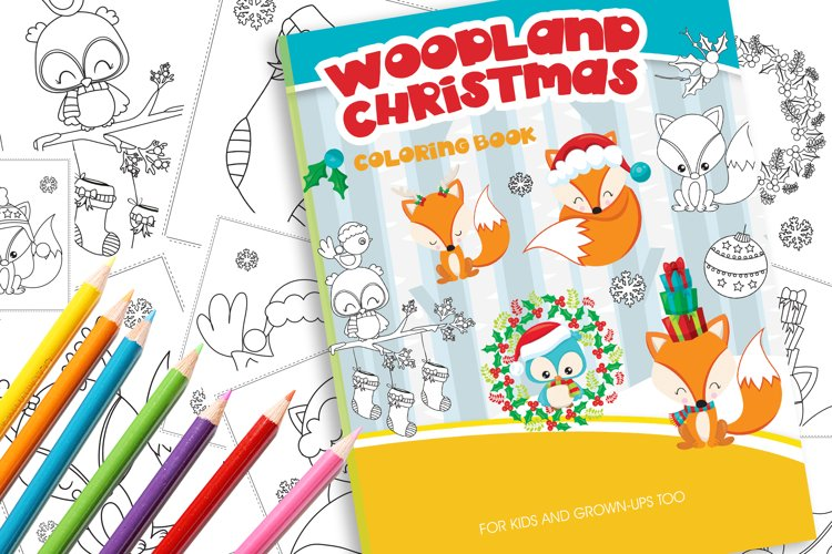 Christmas Woodland Coloring Book example image 1