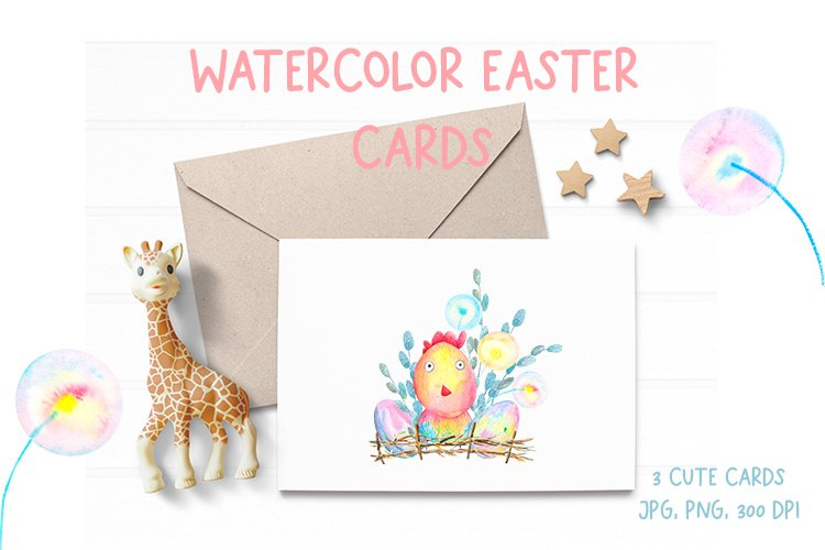 Watercolor Cute Easter cards. Baby shower