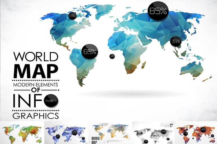 Mosaic World Map set example image 1