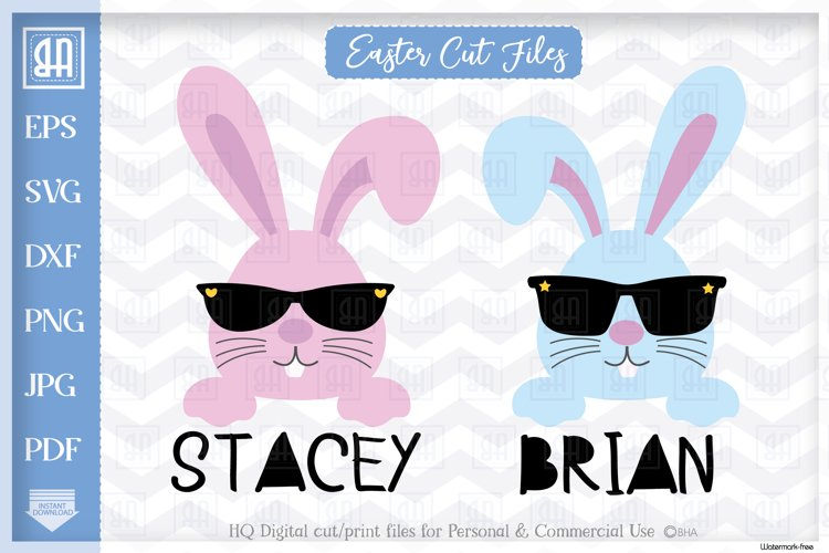 Bunny face bundle svg, Cool Easter bunny with sunglasses svg example image 1