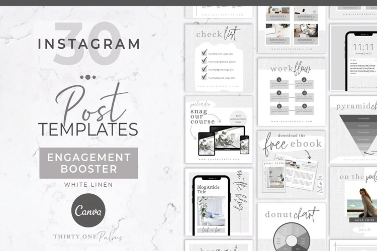 Instagram Template for Canva | Engagement Booster | Linen example image 1