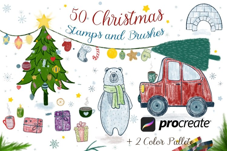 50 Procreate Christmas Stamps and Brushes example image 1