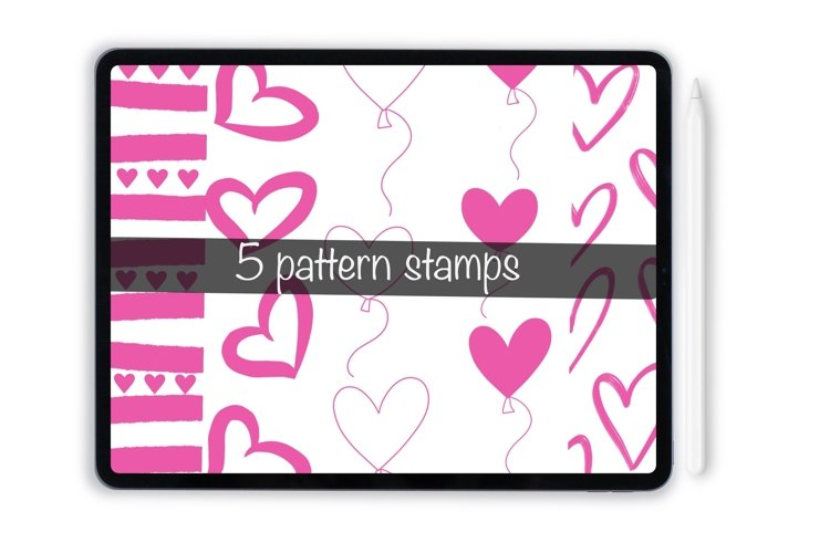 Procreate valentines pattern stamps for iPad and iPad Pro example