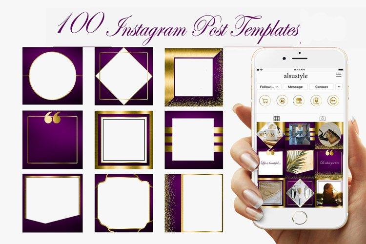 Pirple Gold Instagram Post Template, Pirple blank Post