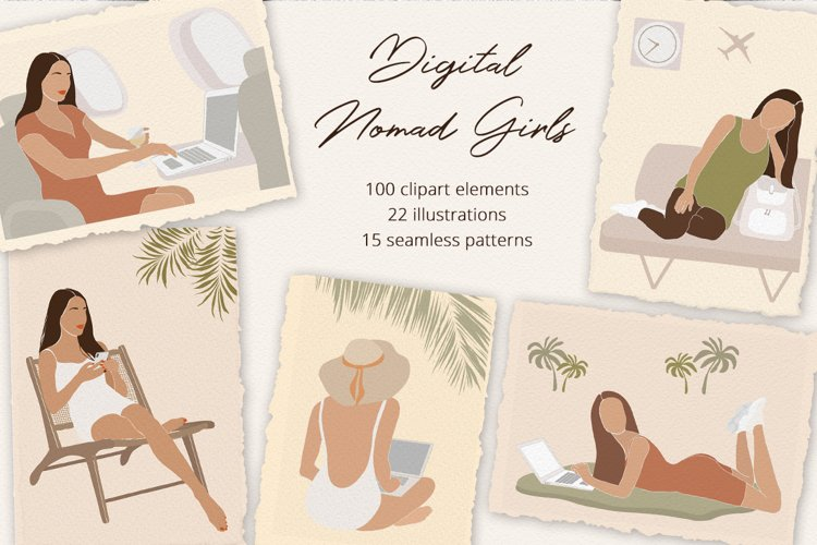 Digital Nomad Girls Illustration Set