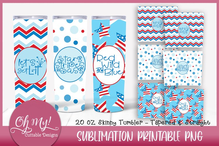 Patriotic 20oz Skinny Tumbler Bundle Sublimation