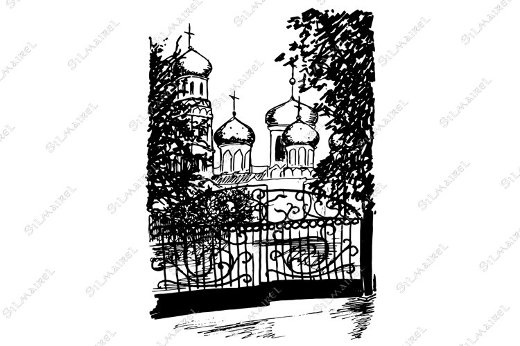 Monochrome black and white church street sketched art vector example image 1