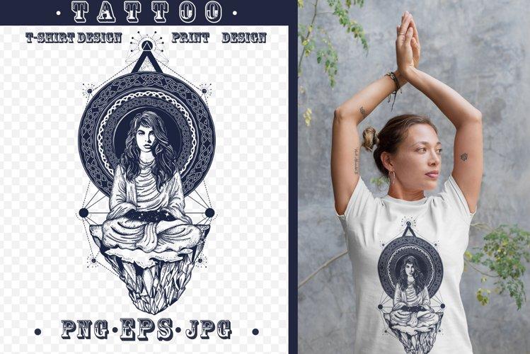 Woman yoga tattoo example image 1