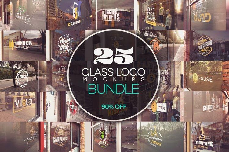 Glass Logo Mockups Bundle x25 example image 1