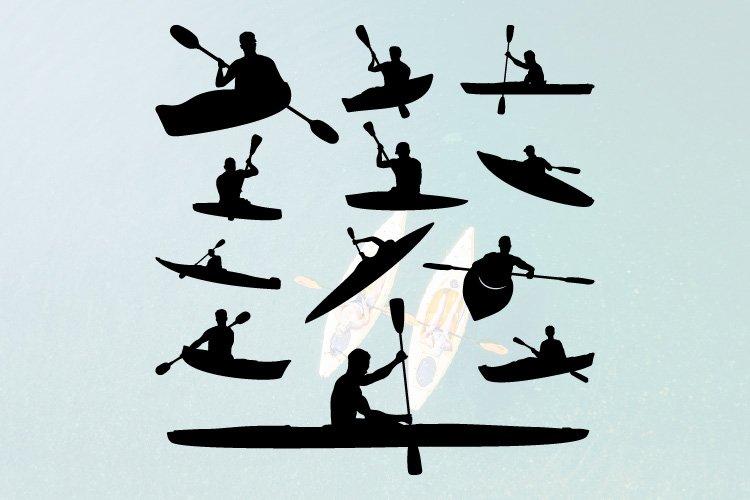 12 Kayak Boat Water Sport Silhouette Set example image 1