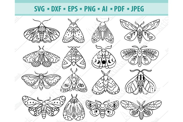 Moth svg file, Celestial moth Svg, Insect Svg, Png, Eps, Dxf example image 1