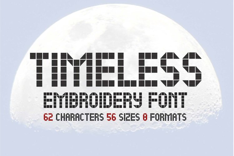 LCD Family Embroidery Font, Digital Watch Font, Futuristic example image 1