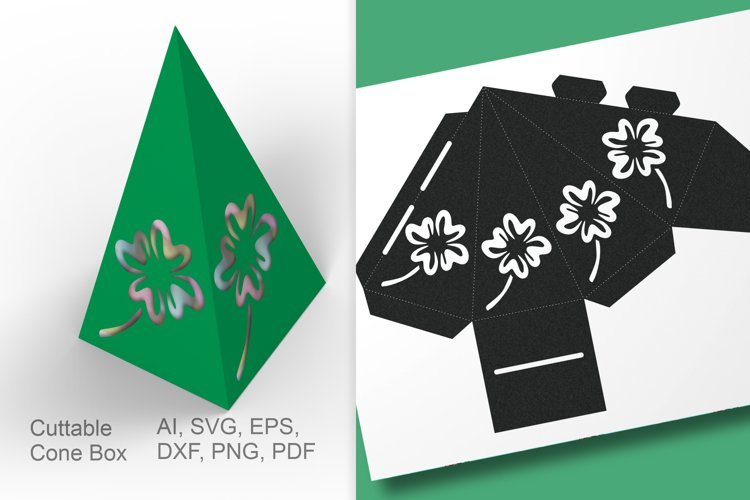 Cuttable Cone Treat Box with Shamrock Small Packaging SVG Ai