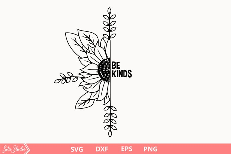 Half sunflower SVG/PNG files for Silhouette.