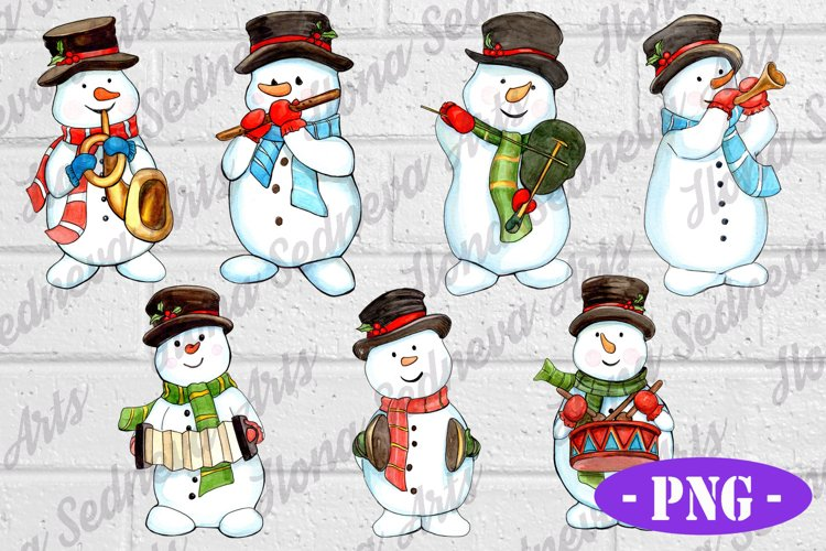 SET of 7 snowmen with musical instruments PNG Sublimation