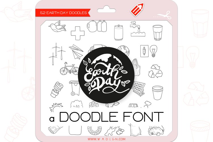 Earth Day Doodles - Dingbats Font example image 1