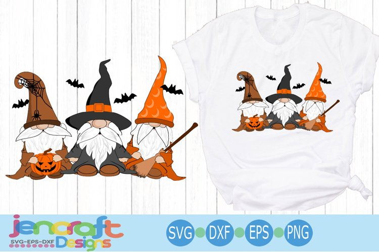 Halloween SVG Gnome Trio Witches hat bat SVG cut file