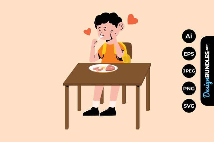 Boy Breakfast Illustrations