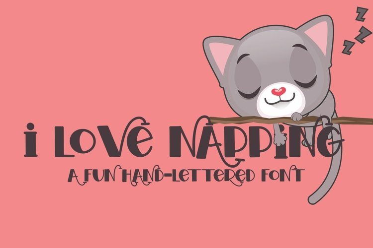 Web Font I Love Napping - A Fun Hand-Lettered Font example image 1
