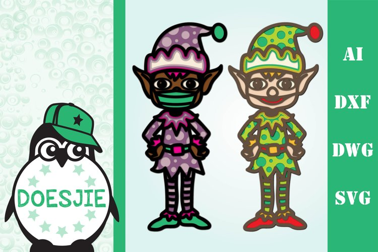 3D layered Christmas elf with mask multi layer mandala example image 1