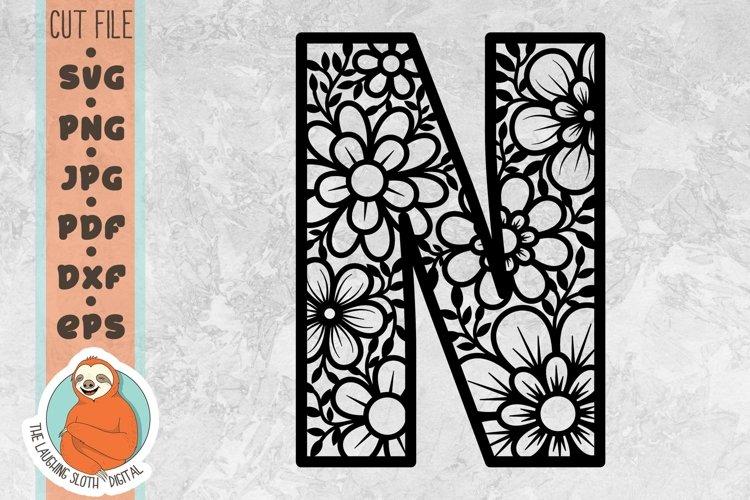 Flower Filled Letter N SVG - Floral Letter Cut File