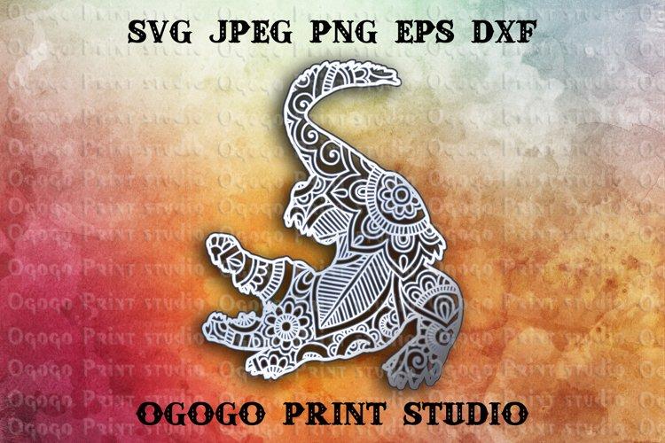 3D Layered Alligator Mandala Svg, Zentangle SVG