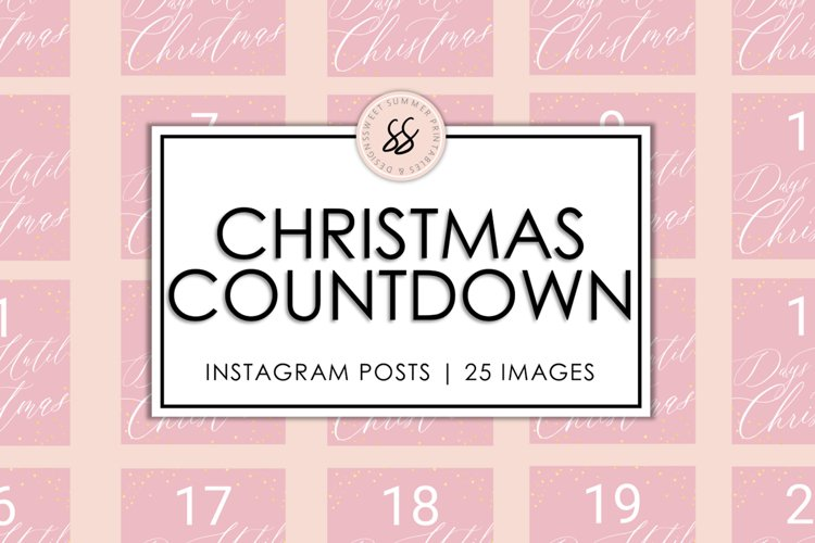 Christmas Countdown Pink & Gold Instagram Posts