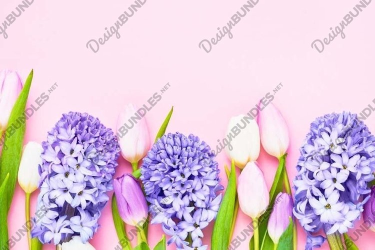 Colorful spring flowers on pink background. example image 1