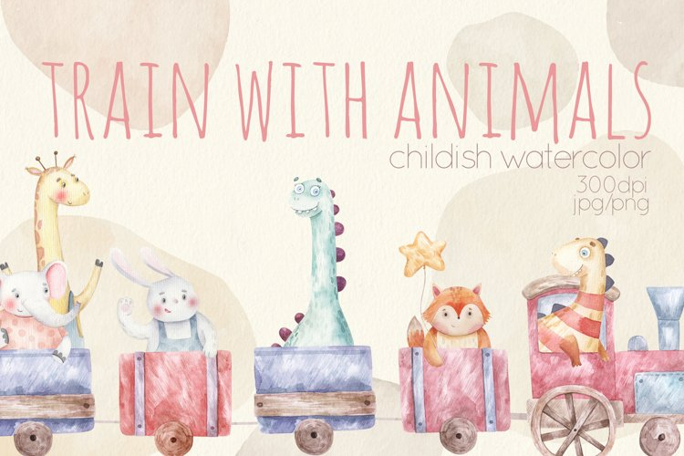 Funny watercolor cartoon animals rides in trains